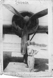 Uncle Sherman in Front of a B-24 Bomber