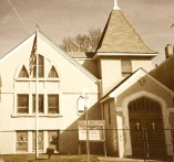 The playground where this story took place is behind the Silver Lake Baptist Church (as it used to look) in Belleville, New Jersey.