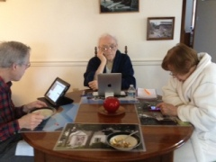 Mom, Dad, and my husband, getting our technology fix during an early morning breakfast.