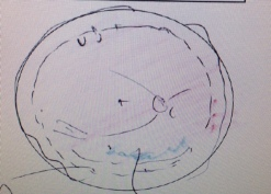 The sketch of my retina with shading that represents the oil.
